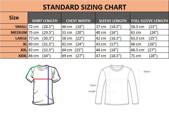 Men's T-Shirts & Polo Shirts Size Chart